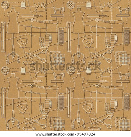 Sewing related seamless background 2 - stock vector