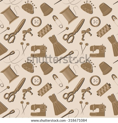 Sewing seamless pattern . Seamless pattern with sewing tools . - stock vector