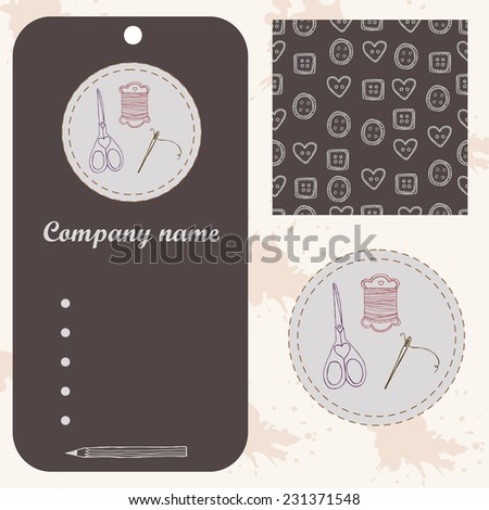 Sewing set logo, tag and logo and seamless pattern. Design art ellements - stock vector