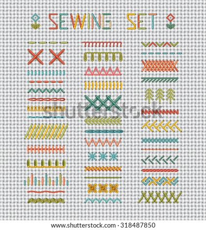 Sewing set on white evenweave textile. Set of vector stitch patterns, borders, sewing page decorations and dividers. All used pattern brushes included. - stock vector