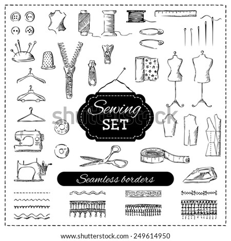 Sewing set. Vector set of sketch sewing elements. Pencil illustration.  - stock vector