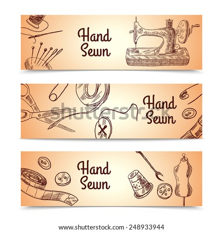 Sewing sketch horizontal banner set with dressmaking and clothes elements isolated vector illustration - stock vector