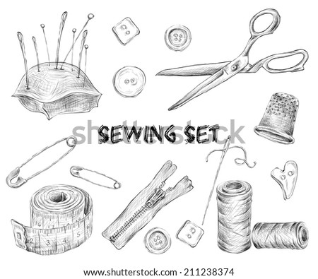 Sewing sketch set with tailor tools needlework and embroidery accessories isolated vector illustration. - stock vector