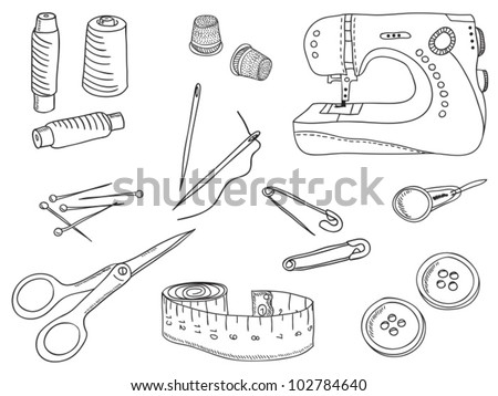 Sewing stuff and tools - hand-drawn illustration - stock vector