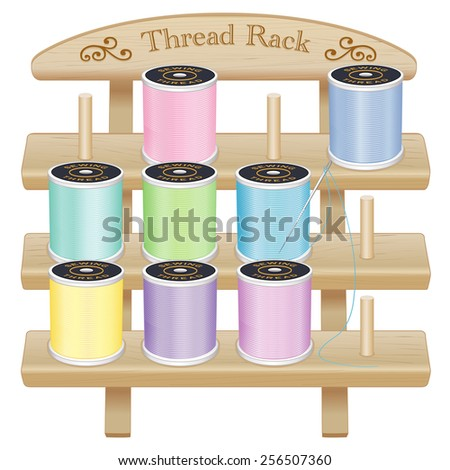 Sewing Thread Storage Rack with pegs, engraved text, scrolls. 3 shelf pine wood,  pastel spools, needle, for DIY sewing, tailoring, quilting, crafts, embroidery,  EPS8 compatible, isolated on white.  - stock vector