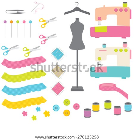 sewing tools - stock vector