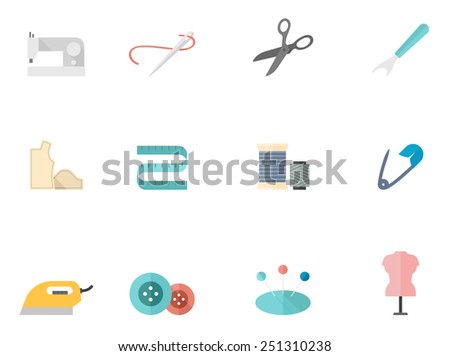 Sewing tools icons in flat color style - stock vector