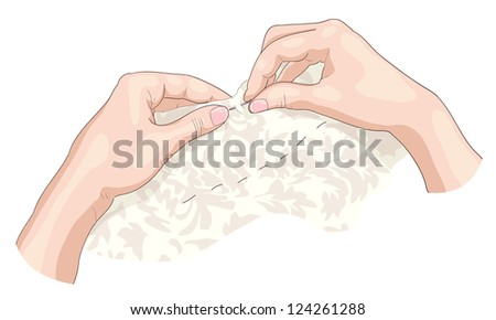 Sewing. Vector illustration. - stock vector