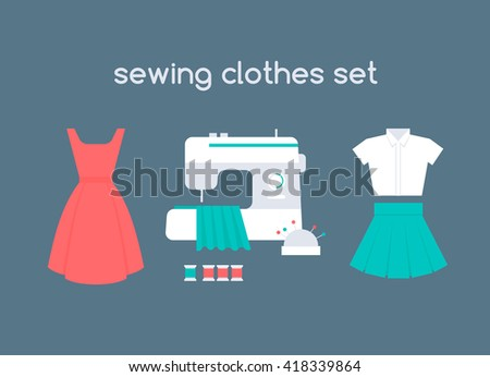 Sewing women's clothes vector set: red dress, white shirt and short green skirt. Sewing machine in atelier with cloth, colorful threads and pins in needle bar. Flat icons of apparel. - stock vector