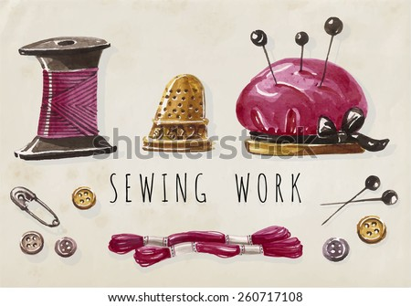 Sewing work. Vector  hand drawn set with sewing and knitting tools. Vintage watercolour signs collection.  - stock vector