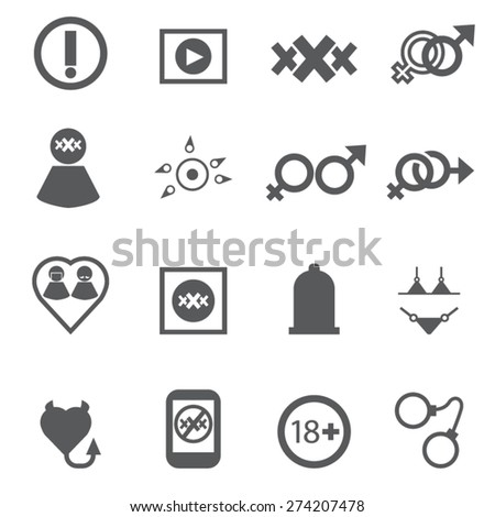Sex icons set, symbol xxx, Vector - stock vector