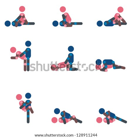 Sex positions or make love position  shilouette vector - stock vector