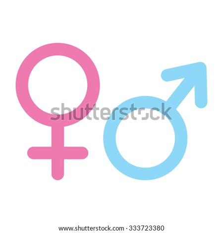 Sex symbol. Isolated vector Illustration. EPS Illustration. Pink and Blue on white background.