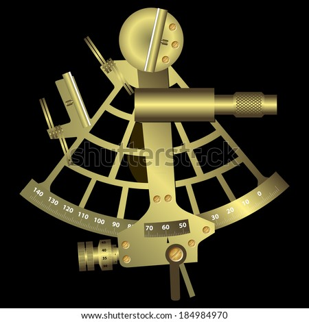 Sextant Black - stock vector