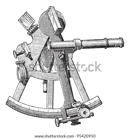 Sextant isolated on white, vintage engraved illustration. Dictionary of words and things - Larive and Fleury - 1895. - stock vector