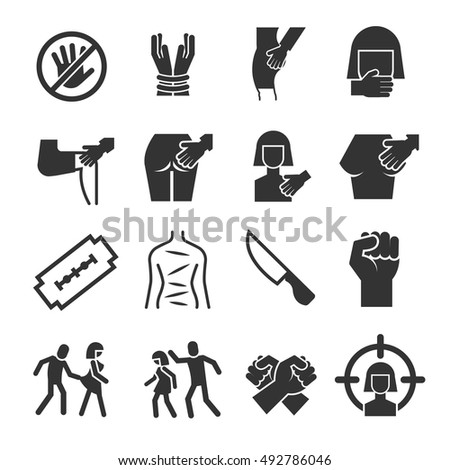 Sexual Abuse Harassment Violence Vector Icons Stockvector 492786046