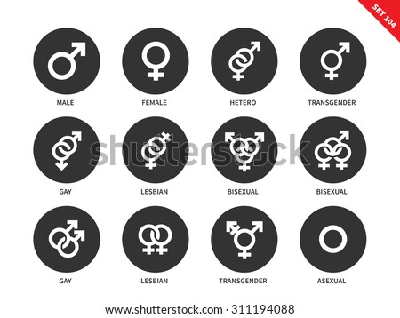 Sexual orientation vector icons set. Gender and sex concept. Items for banners, male, female, hetero, bisexual, transgender, lesbian, asexual, gay. Isolated on white background - stock vector