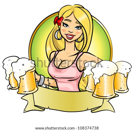 Sexy blond girl with beer, logo design with space for text, invitation - stock vector