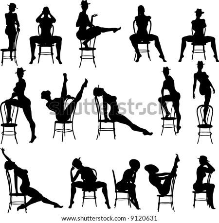 Sexy Chair Silouettes - Vector - stock vector