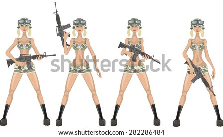 Sexy combat girl - stock vector