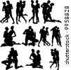 Sexy Couple Silouettes - stock vector