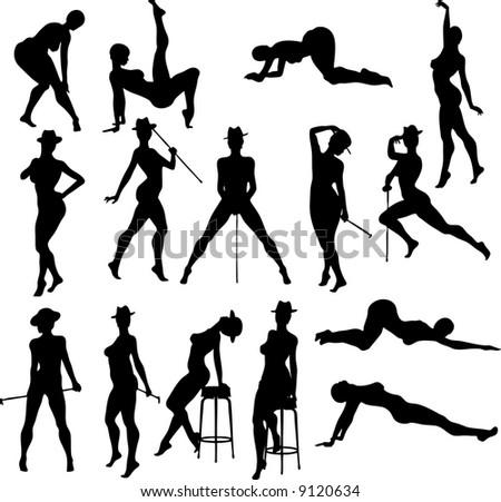 Sexy Dance Silouettes - Vector - stock vector