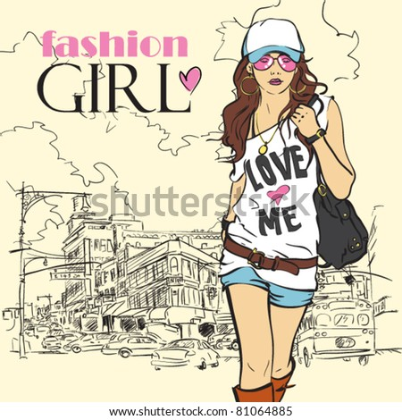 Sexy fashion girl in sketch style on a city-background. - stock vector