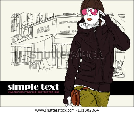Sexy fashion girl in sketch style on a street-cafe background. Vector illustrator - stock vector