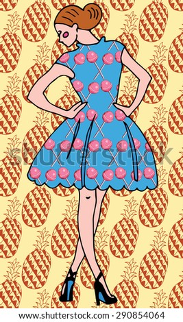 Sexy Fashion Girl in Sketch Style with Pattern - stock vector