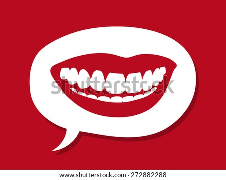 Sexy female mouth with luscious red lips and a toothy smile showing brilliant white teeth inside a speech bubble on a red background in a conceptual image, vector illustration - stock vector