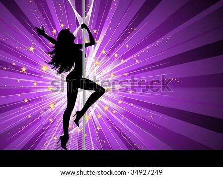 Sexy female pole dancing - stock vector