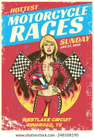 sexy girl in motorcycle race event poster in grunge textured sty - stock vector