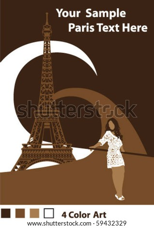 Sexy girl in Paris - stock vector