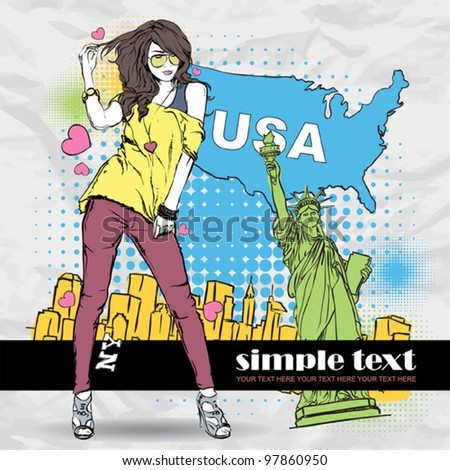 Sexy girl in sketch-style on a usa-background. Vector illustration. Place for your text. - stock vector