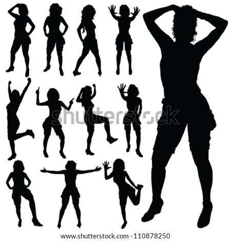 sexy girl posing vector black silhouette on white