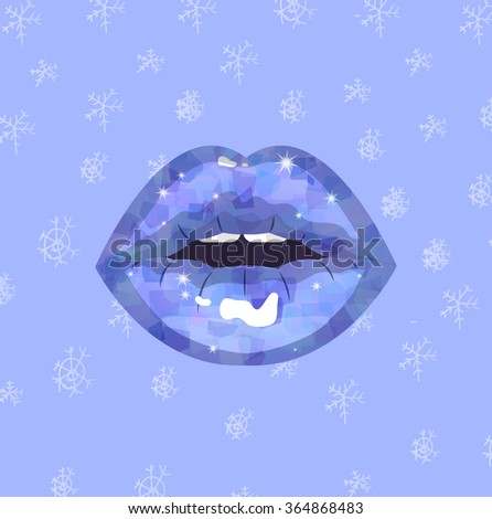 Sexy ice winter passion lips, shining lipstick, erotic open mouth, snowflakes background, Snow Queen Kiss