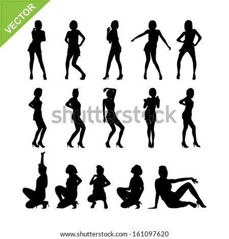 Sexy lady and dancing silhouettes vector set 9