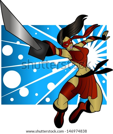 Sexy Ninja Woman - stock vector