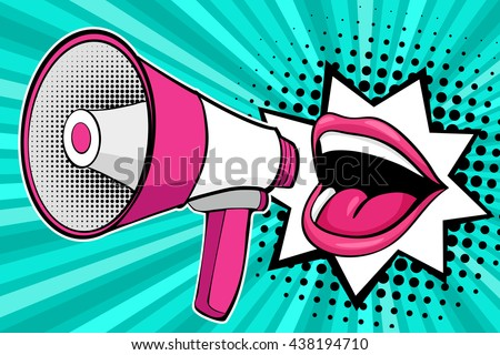 Sexy open female mouth and megaphone screaming announcement. Vector background in comic retro pop art style. - stock vector