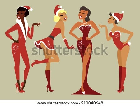 Sexy Pin up Santa girls vector set