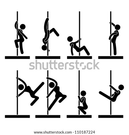 Sexy Pole Dance Icon Symbol Sign Pictogram - stock vector