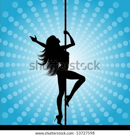 Sexy pole dancer - stock vector