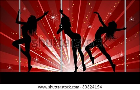 Sexy pole dancers - stock vector