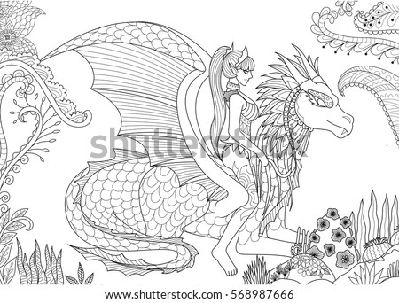 Sexy Queen Riding A Dragon For Adult Coloring Book Page