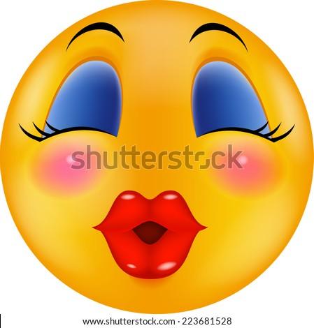Sexy red lip smiley - stock vector