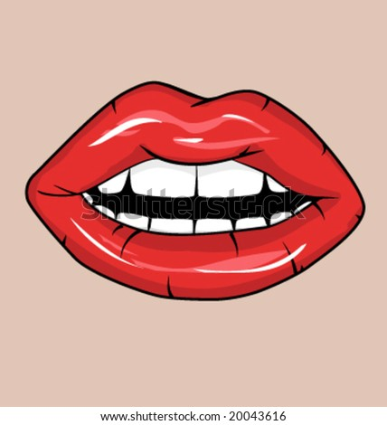 Sexy red lips with lipstick - stock vector