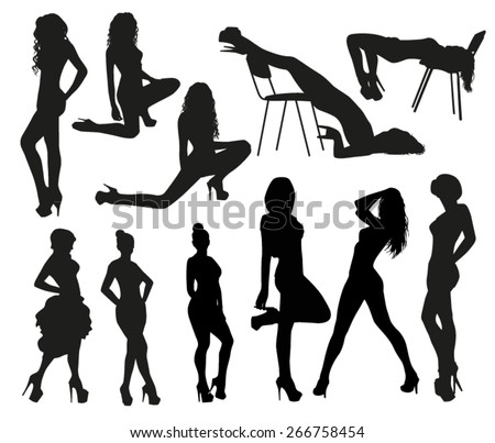 Sexy silhouettes - stock vector