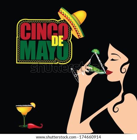 Sexy woman Cinco De Mayo margarita background.  - stock vector