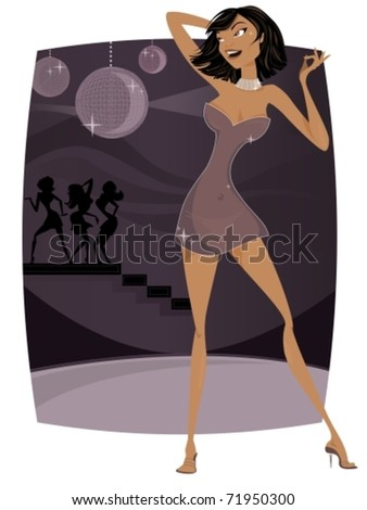 Sexy woman dancing in nightclub vector illustration - stock vector