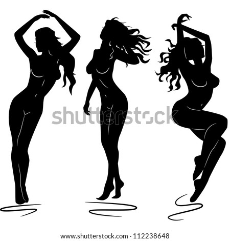 sexy woman girl silhouettes - stock vector